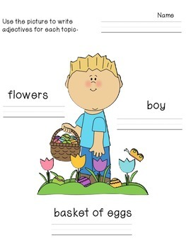Easter Adjective Writing