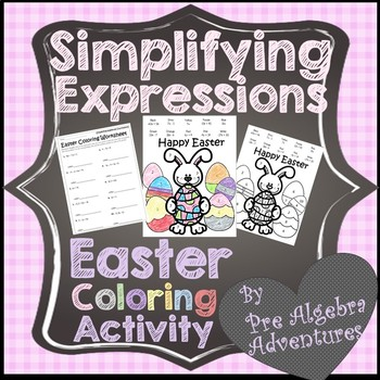 Easter Algebraic Expressions Worksheet {Easter Middle School Math  Activities}
