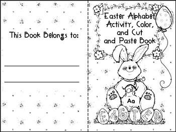 Easter Alphabet Activity Color Cut and Paste Book Aa