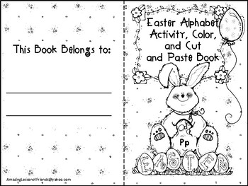 Easter Alphabet Activity Color Cut and Paste Book Pp
