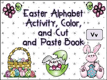 Easter Alphabet Activity Color Cut and Paste Book Vv