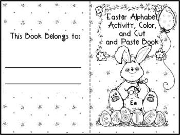Easter Alphabet Activity Color Cut and Paste Books Bundle