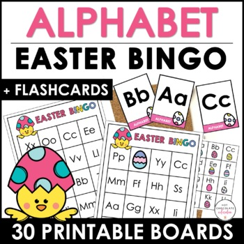 Easter alphabet bingo game letters a through z by hot chocolate easter alphabet bingo game letters a through z spiritdancerdesigns Image collections