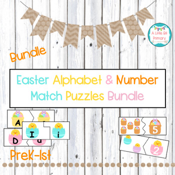 Easter Alphabet Match and Number/Counting Self-Correcting Puzzle Center Bundle