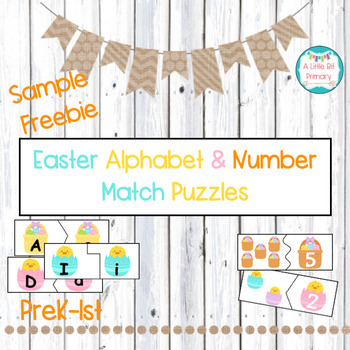 Easter Alphabet Match and Number Match Sample FREEBIE!
