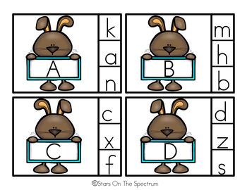 Easter Alphabet Matching Clip Cards Preschool