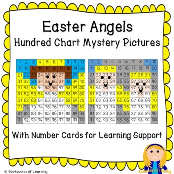 Easter Angels Hundred Chart Mystery Pictures with Bible Clues & Number Cards