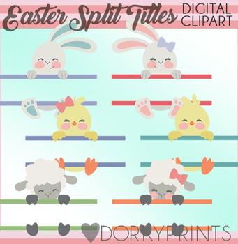 Easter Animal Split Titles Clipart
