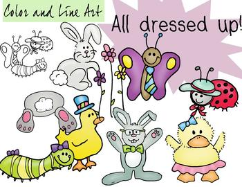 Easter Animals Clip Art - Color and Line Art 18 pc set
