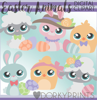 Easter Animals Clipart By Dorky Doodles