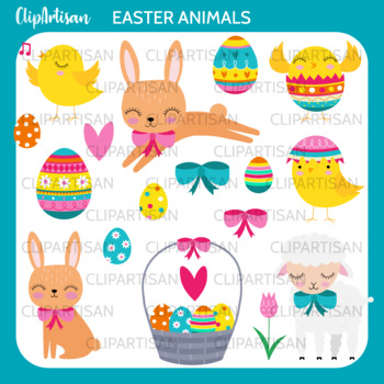 Easter Animals Clipart, Easter Bunny