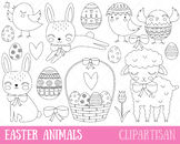 Easter Animals Clipart, Easter Bunny Coloring Page