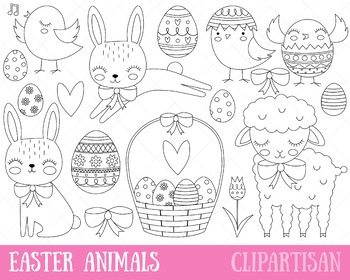 Easter Animals Clipart Bunny Coloring Page