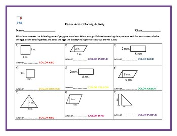 Easter- Area of Polygons Worksheet and Color by Code