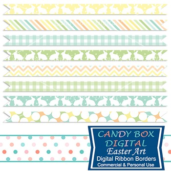 Easter Art Digital Ribbon Borders - Commercial Use OK