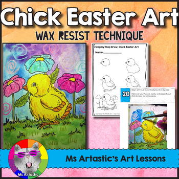 Easter Art Lesson, Chick Wax Resist