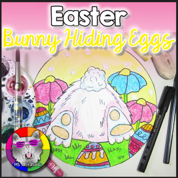 Easter Art Project, Easter Bunny Hiding Eggs