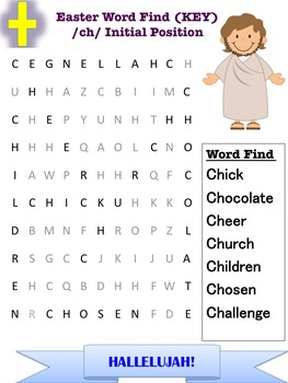 Easter Artic /ch/ word find Speech Therapy initial position