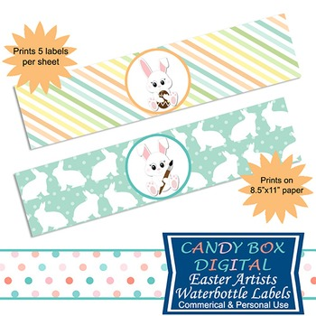 Easter Artist Water Bottle Labels/Napkin Wraps