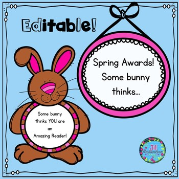 Spring Brag Tags!  (Editable)  Some bunny thinks...