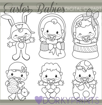Easter Babies Black Line Clip Art