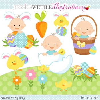 Easter Baby Boy Cute Digital Clipart, Easter Babies Clip Art