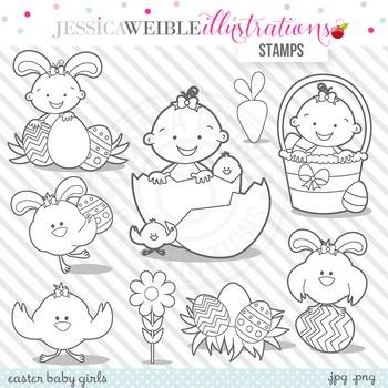 Easter Baby Girl Cute Digital B&W Stamps, Easter Baby Girl Line Art
