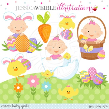 Easter Baby Girl Cute Digital Clipart, Baby Girl Clip Art