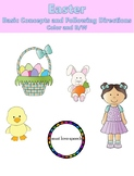 Easter Basic Concepts and Following Directions: Task Cards and Coloring Pages