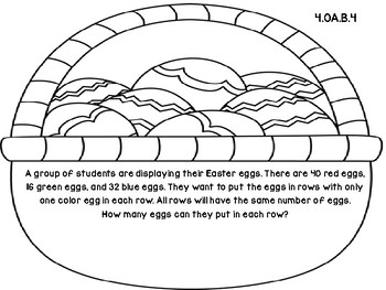 Easter Basket 4th Grade Common Core Open Ended Assessment Task (Factors)