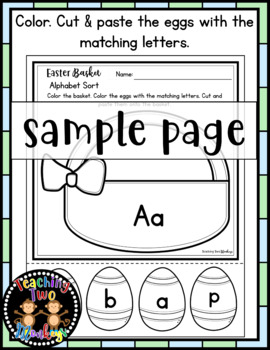 Easter Basket Alphabet Sort Print & Go Cut & Paste Activity (Differentiation)