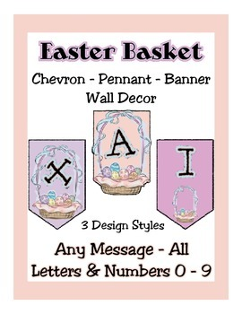 Easter Basket Banner Chevron Bundle - Any Message - All Le