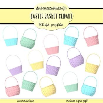 Easter Basket Clipart, 15 Pastel Spring Baskets