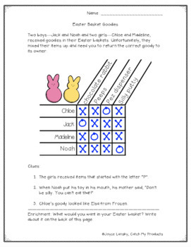 """Easter Logic Puzzle  """"Easter Basket Goodies"""""""