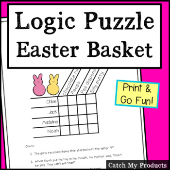 Easter Basket Goodies Matrix Logic Problem for Bright Students