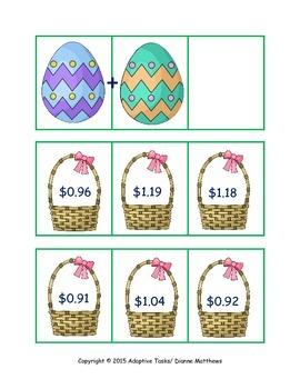 Easter Basket Math and Matching Task