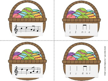 Easter Basket Melody Matching--A stick to staff notation game {re pentatonic}