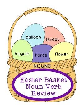 Easter Basket Noun Verb Review Activity Bulletin Board PDF
