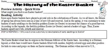 Easter Basket Reading, Writing, and Designing