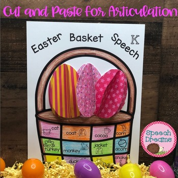 Easter Basket Speech Therapy Cut and Paste Activity for Ar