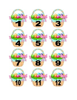 Easter Basket with Egg Numbers for Calendar or Counting Activity