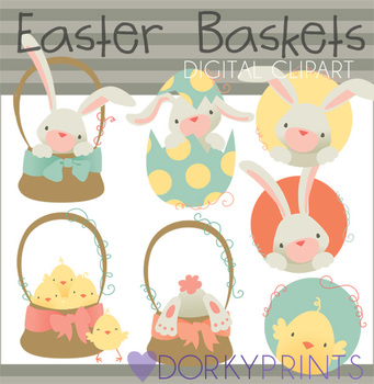 Easter Baskets Digital Clip Art