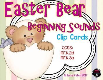 Easter Bear Beginning Sounds Clip Cards Phonics Phonemic A