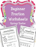 Easter Beginner Fraction Worksheets.  Spring Bunnies Story Problems