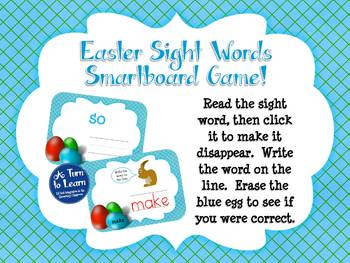 Easter Sight Words Game: Fry's First 100 Words (Smartboard/Promethean Board)