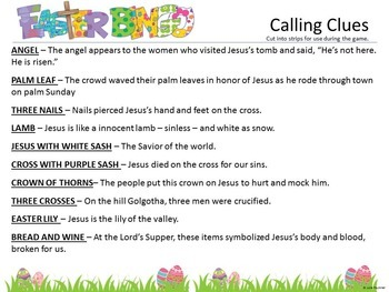 Easter Bible BINGO for Kids 20 Easy Prep Cards/20 Clues, Fun Games for Church