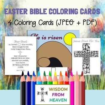 Easter Bible Coloring Cards - Set of 4