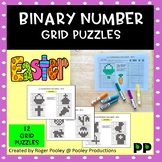 Easter Binary Number 8x8 Grid Puzzles - 12 puzzles, no Prep, answers