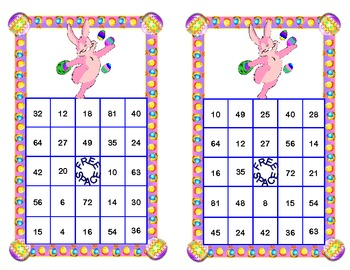 Easter Bingo Game Multiplication Tables 0-10