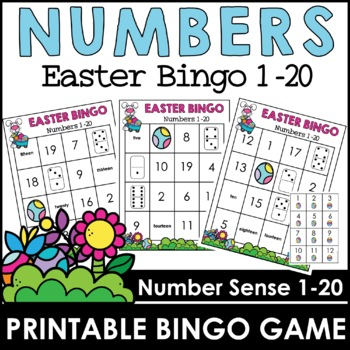 Easter Bingo Game - Numbers 1-20 by Hot Chocolate Printables | TpT